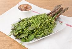 可口Neem泰国食物用甜调味汁 免版税库存照片