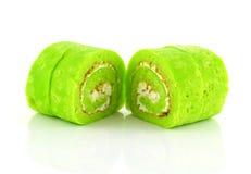 可口pandan和香草蛋糕卷 图库摄影