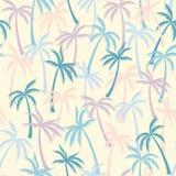 可可椰子树样式纺织品无缝的热带森林背景 夏天重复样式的传染媒介墙纸 皇族释放例证