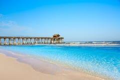 可可粉海滩码头在卡纳维尔角佛罗里达 图库摄影