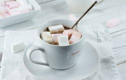 可可粉用白色玫瑰蛋白软糖 免版税库存图片