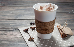 可可粉饮料用蛋白软糖和桂香 图库摄影