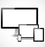 可实现的设备设置了模板 免版税库存图片