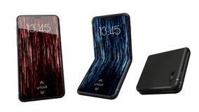 可弯的智能手机现代设计  3d brandless电话设计的例证 皇族释放例证