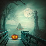 可怕万圣夜南瓜在神秘的鬼的环境里 免版税图库摄影