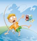 可怕事故的捕鱼 免版税库存照片