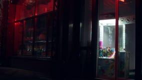 可怕商店在晚上 眨眼广告牌 股票录像
