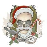 可怕圣诞老人头骨 免版税图库摄影