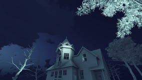 可怕夜4K时间间隔的被困扰的房子 皇族释放例证