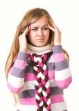 可怕女孩顶头头疼藏品的痛苦 库存图片