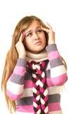 可怕女孩顶头头疼藏品的痛苦 库存照片