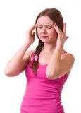 可怕女孩顶头头疼藏品的痛苦 免版税库存图片