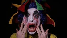 可怕小丑丑化他的组成 恐怖,鬼的小丑 股票录像