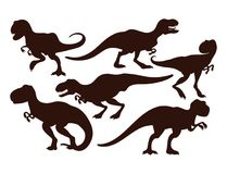 可怕恐龙导航暴龙黑剪影t雷克斯危险生物力量狂放侏罗纪食肉动物史前 向量例证