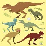 可怕恐龙导航暴龙t雷克斯危险生物力量狂放的侏罗纪食肉动物的史前绝种例证 库存例证