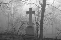 可怕有雾的坟园场面。 免版税库存照片