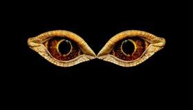 可怕的可怕的眼睛意想不到的动物或鸟 眼睛恐龙或蛇 免版税库存图片
