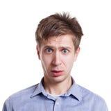 可怕的新闻 情感人表达在面孔惊奇 免版税库存照片