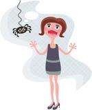 可怕的蜘蛛和呼喊的女孩。 免版税库存照片