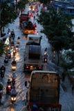 可怕的被充斥的街道,在浪潮时间的摩托车 免版税图库摄影