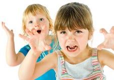 可怕表面的孩子 免版税库存图片