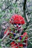可怕邪恶的小丑在森林 库存照片