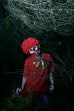 可怕邪恶的小丑在森林 免版税库存照片