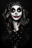 可怕邪恶的小丑女孩 免版税库存图片