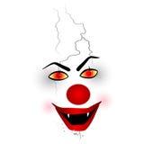 可怕面孔-扮小丑在白色背景 库存照片