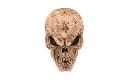 可怕鬼的头骨白色背景 免版税图库摄影