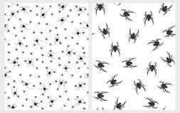 可怕黑蜘蛛传染媒介样式 蠕动的万圣夜例证 皇族释放例证