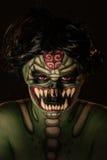 可怕绿色妖怪人体艺术  免版税库存照片
