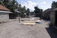 可怜的小屋海草收集者,努沙Penida,印度尼西亚 免版税图库摄影
