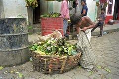 可怜的拉丁美州的男孩从废物箱,尼加拉瓜得到食物 免版税库存图片