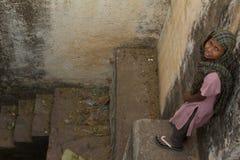 可怜的部族女孩 图库摄影