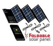 可折叠的太阳电池板 库存照片