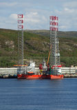 可拉树海湾的石油平台北极 免版税库存照片