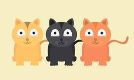可爱传染媒介猫滑稽的收藏逗人喜爱和 免版税库存图片