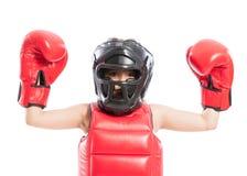可爱和年轻拳击手女孩 免版税库存照片