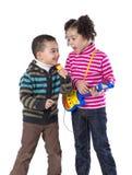 可爱孩子唱歌 库存图片