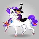 可爱宝贝乘坐美好的不可思议的独角兽的巫婆女孩在白色背景 向量例证