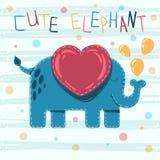 可爱宝贝大象-动画片例证 皇族释放例证