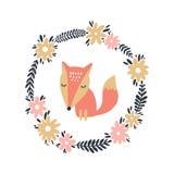 可爱宝贝狐狸艺术,花卉框架模板 婴孩印刷品 传染媒介和JPG图象 向量例证