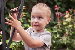 可爱宝贝男孩微笑的室外ot绿色花背景 免版税图库摄影