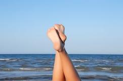 可爱海滩的行程 库存照片
