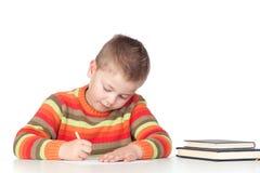 可爱男孩学习 免版税库存图片