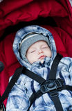 可爱男婴睡觉 免版税图库摄影