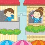 可爱的下雨夫妇恋人 皇族释放例证