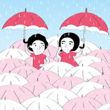 可爱的下雨夫妇恋人 库存例证