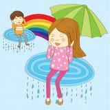 可爱的下雨夫妇恋人 向量例证